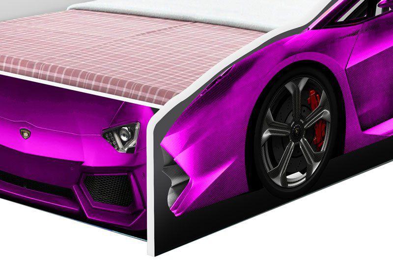 Cama Carro Solteiro Rosa - Cambel Móveis