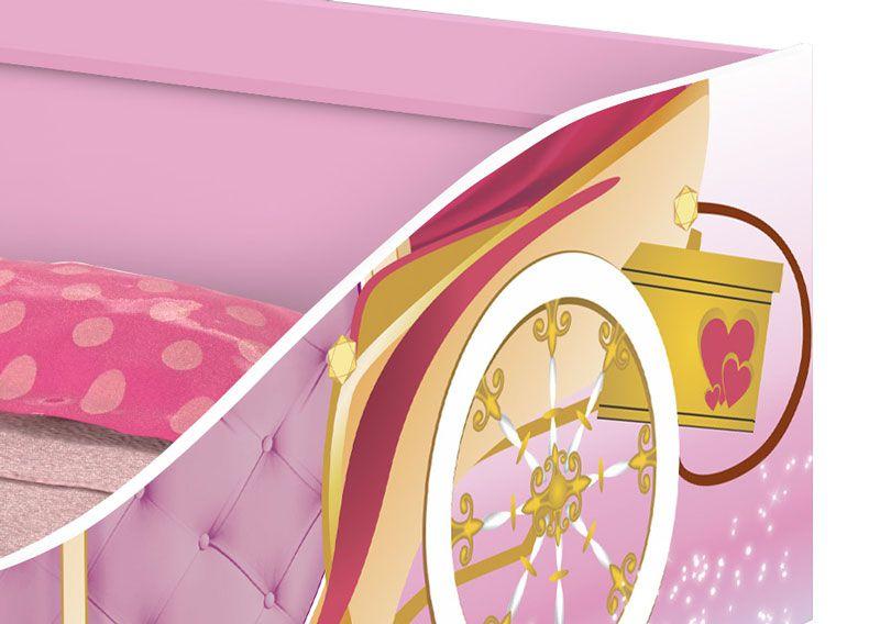 Cama Carruagem c/ Baú Infantil Rosa - JeA Móveis