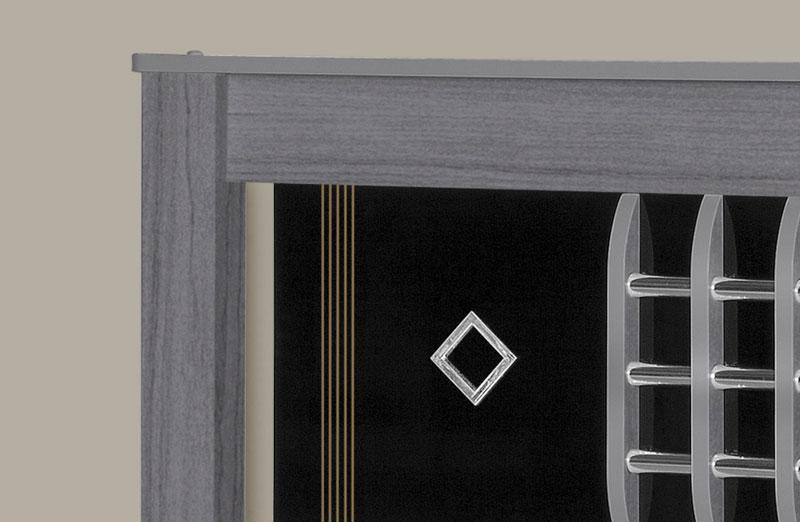 Cama de Casal Atenas Cinza com Preto - Tebarrot Móveis