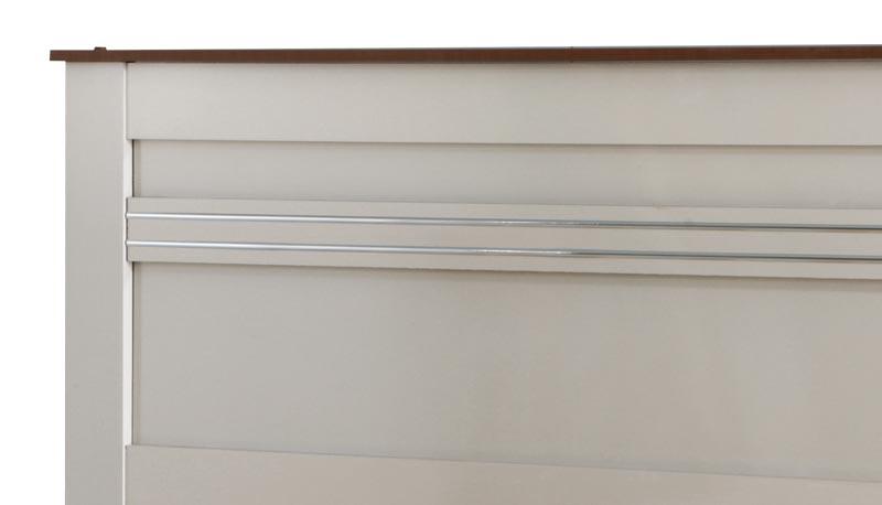Cama de Casal Dallas II Off White com Madeira - Tebarrot Móveis