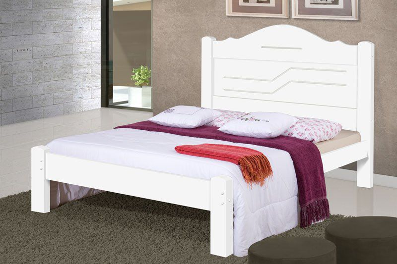 Cama de Casal Thalia Branco - Cambel Móveis