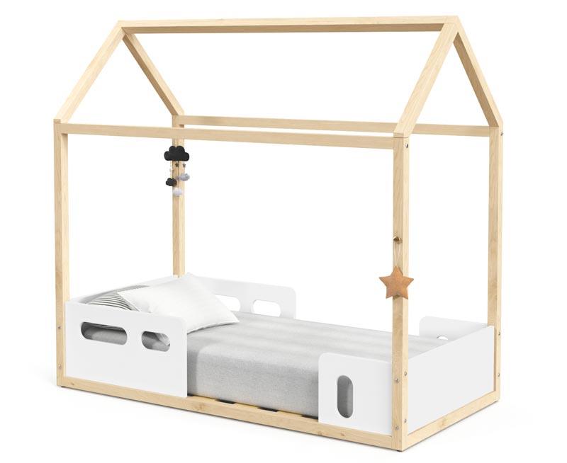 Cama Montessoriana Infantil Casinha Liv Branco Soft com Natural - Matic Móveis