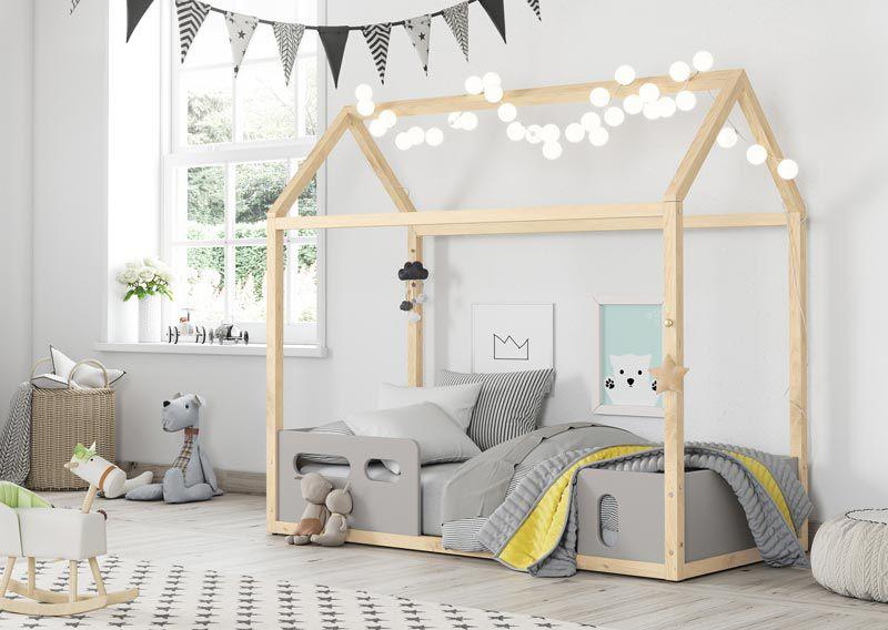Cama Montessoriana Infantil Casinha Liv Cinza com Natural - Matic Móveis