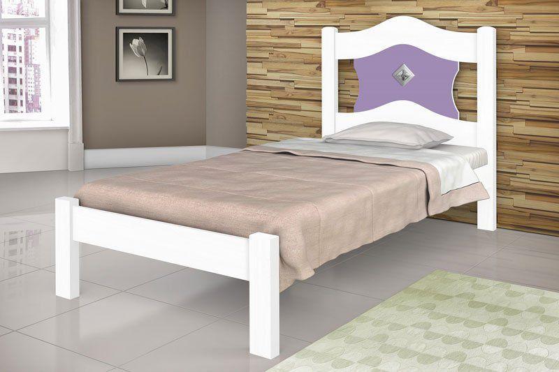 Cama de Solteiro Sevilha Branco com Lilás - JeA Móveis