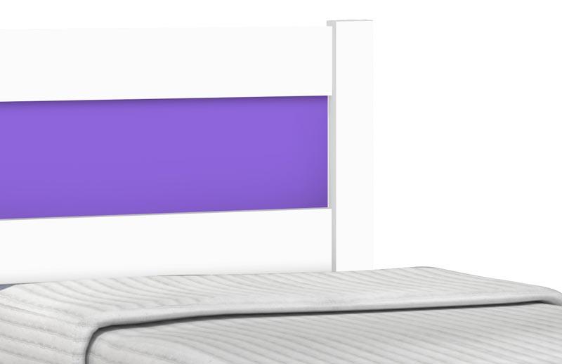 Cama Solteiro com Auxiliar Prisma Branco com Lilás - JeA Móveis