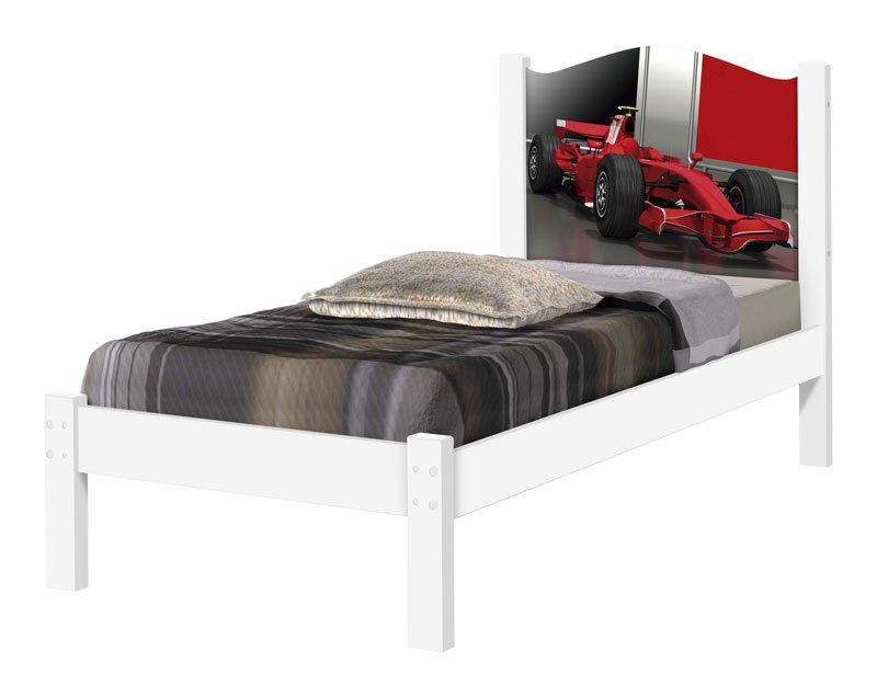 Cama Solteiro Adesivada Ferrari - Cambel Móveis