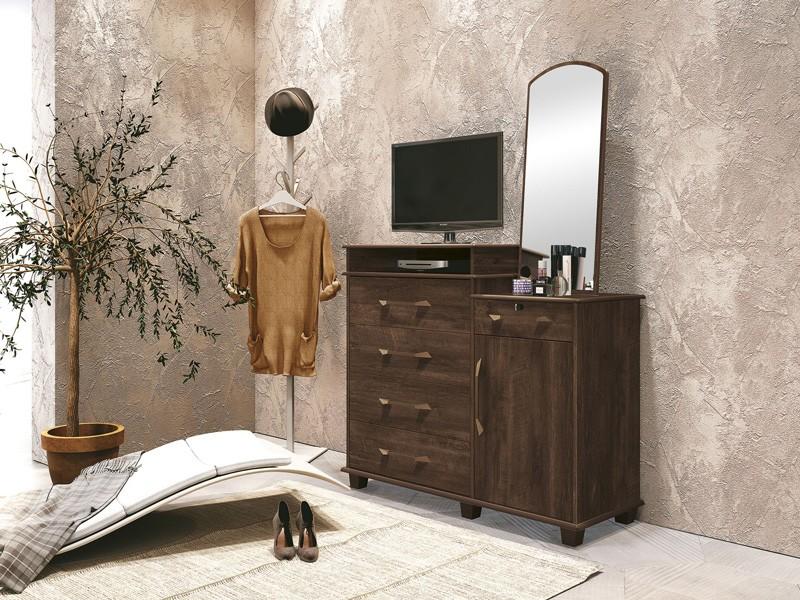 Comoda 5 Gavetas com Sapateira Dubai Noce - FabriMoveis  - MoveisAqui - Loja de móveis online!