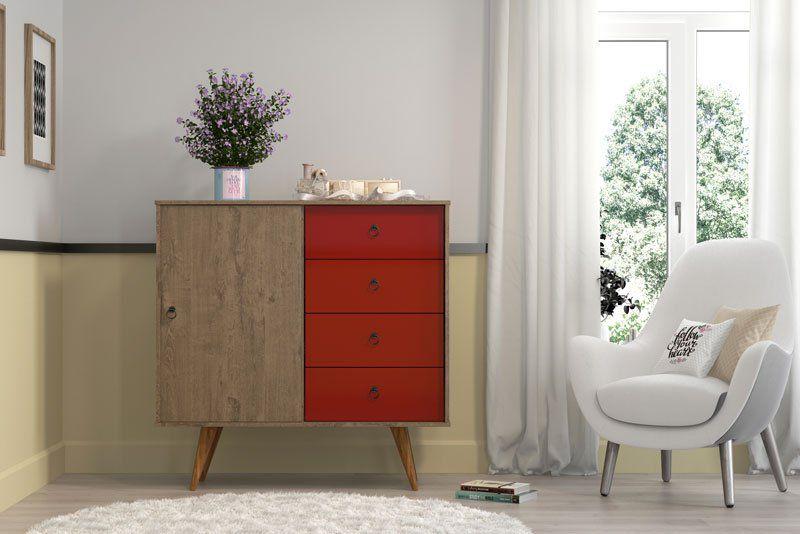 Comoda Ametista Demolição Vermelho - Patrimar Móveis  - MoveisAqui - Loja de móveis online!