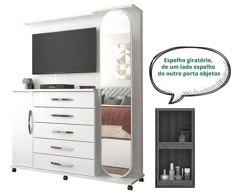 Cômoda com Painel para TV Branco Carina - Lukaliam Móveis