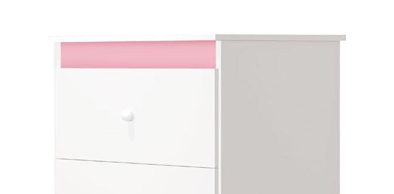 Comoda Encanto Branco com Rosa - Imaza Moveis