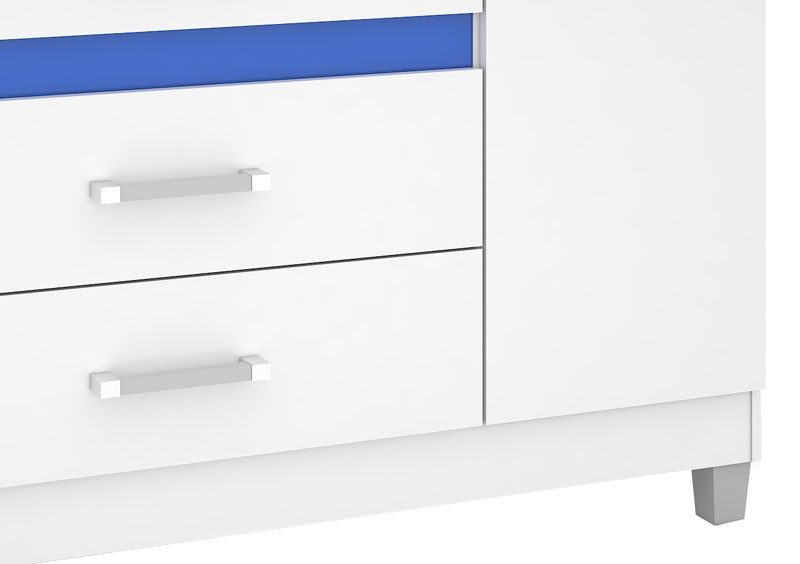 Comoda Florence Plus III Branco com Azul - Mirarack