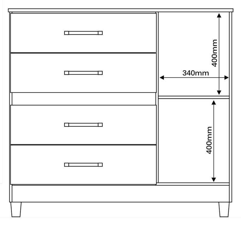 Comoda Florence Plus III Amêndoa - Mirarack  - MoveisAqui - Loja de móveis online!