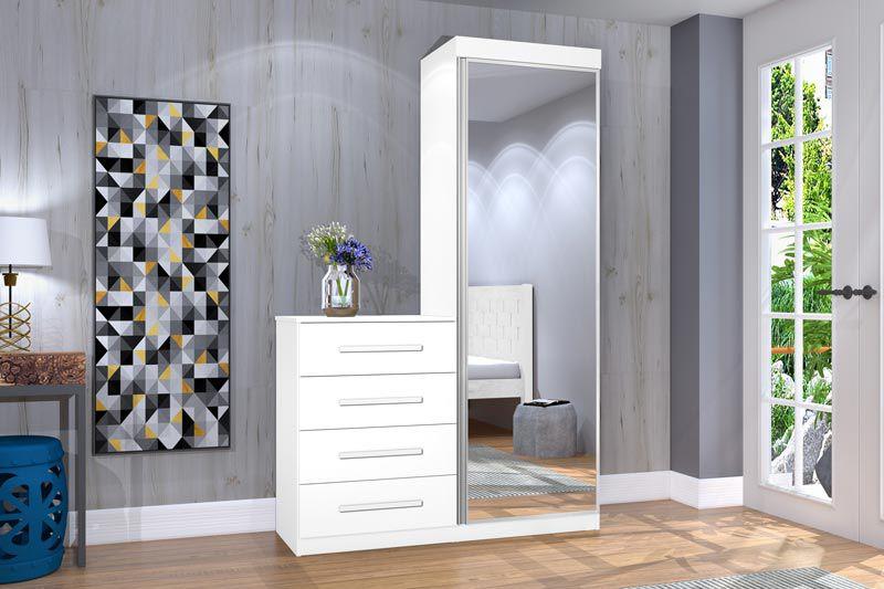 Cômoda Multiuso Thor New com Espelho Branco - JeA Móveis