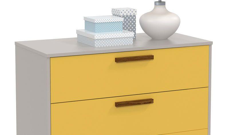 Comoda Nature Glass Cinza com Amarelo e Eco Wood - Matic Móveis