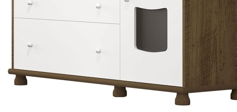 Comoda Nicoli Branco com Gengibre - Imaza Móveis