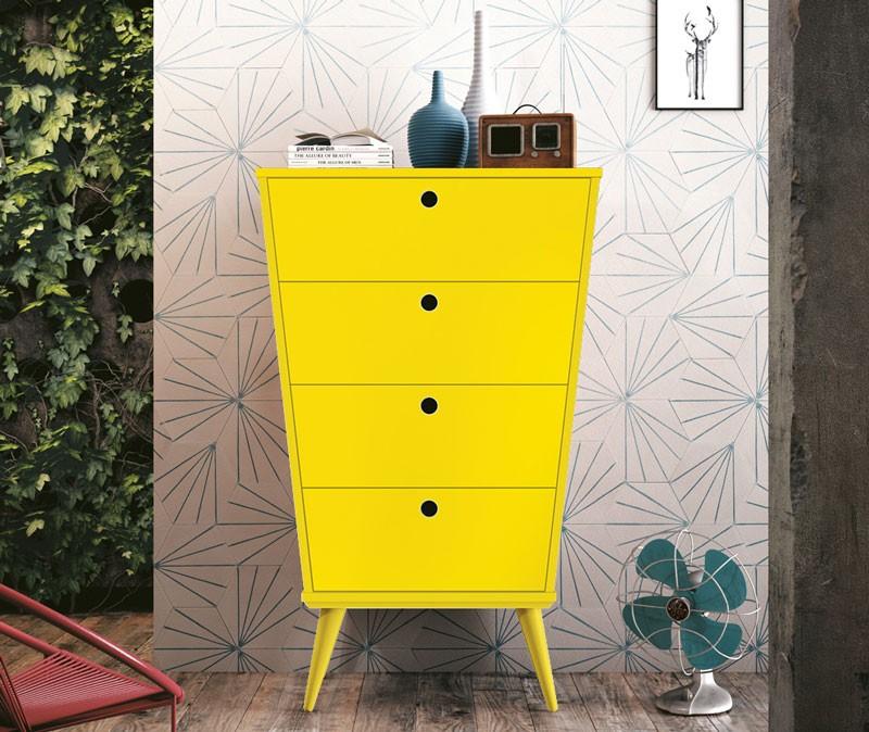 Comoda Prada Amarelo - Edn Móveis