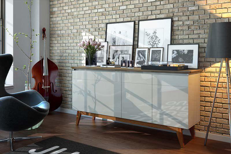 Conjunto +3G 1.8 com Buffet Classic e Cristaleira Off White com Freijó - Imcal Móveis