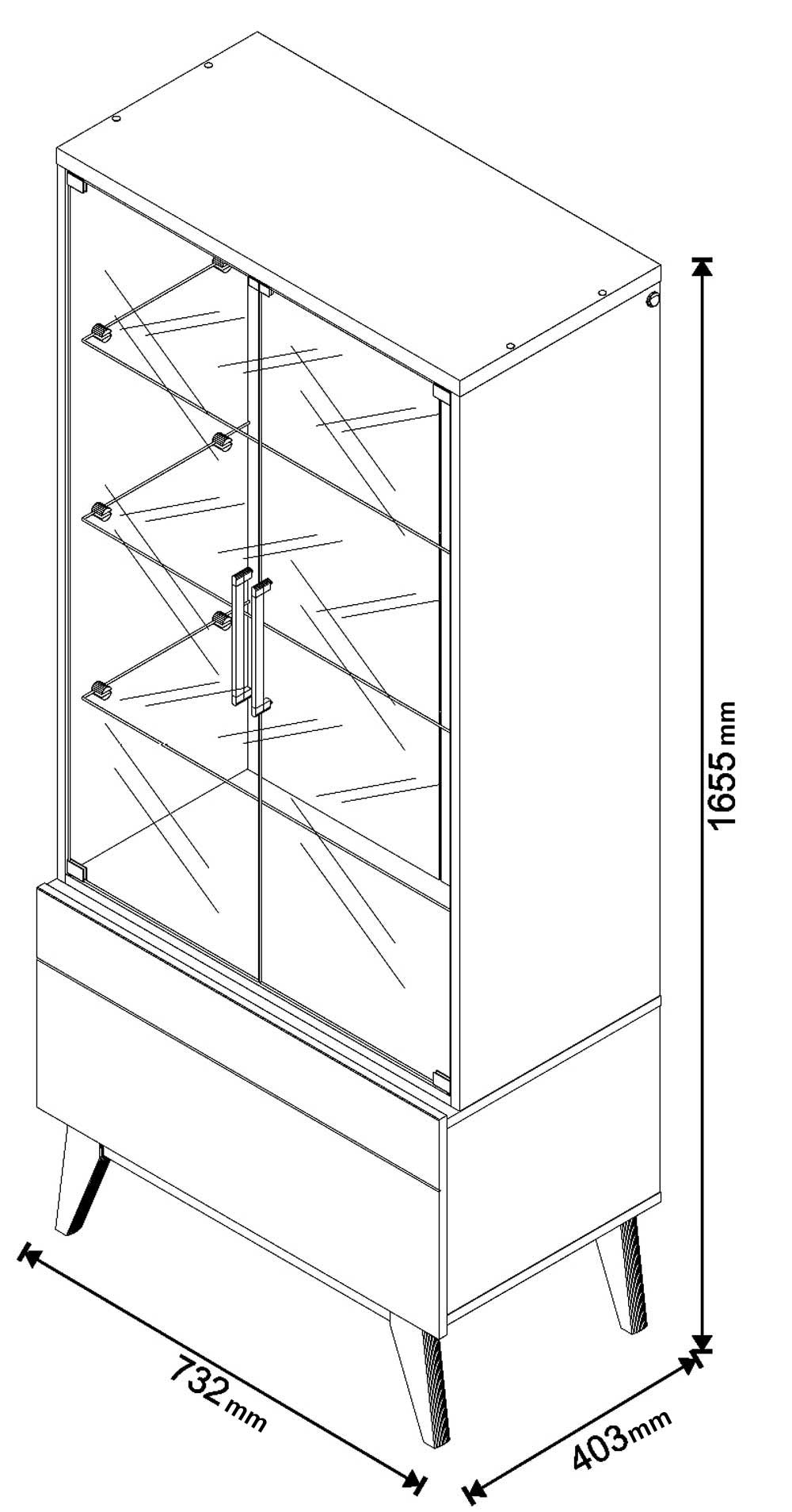 Conjunto Cristaleira + Buffet  3 portas - Imcal Móveis