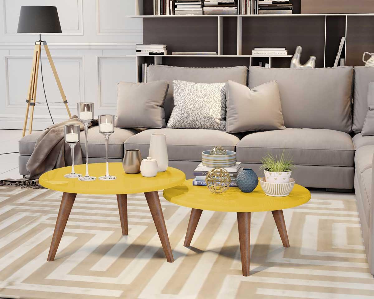 Conjunto de Mesas de Centro Ísis Amarelo com Madero - MóveisAqui