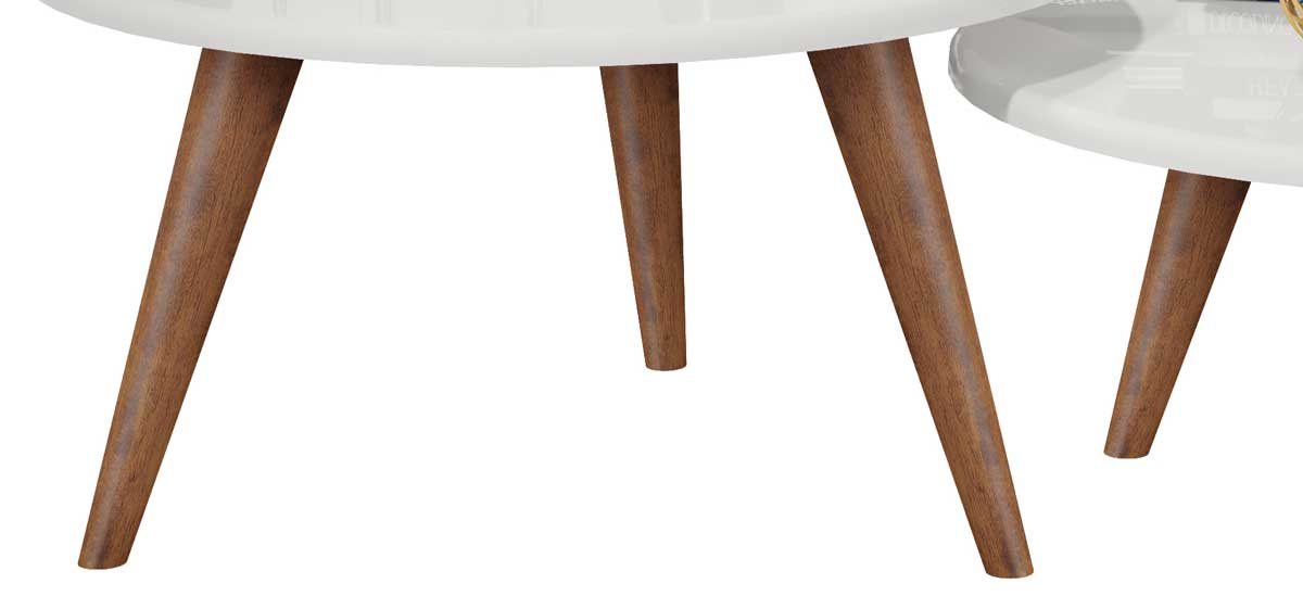 Conjunto de Mesas de Centro Ísis Branco com Madero - MóveisAqui