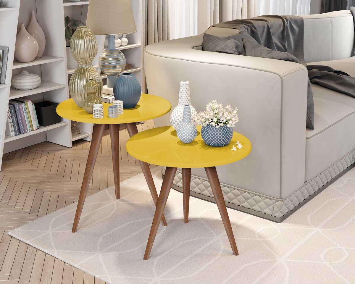 Conjunto de Mesas Laterais Isa Amarelo com Madero - MóveisAqui
