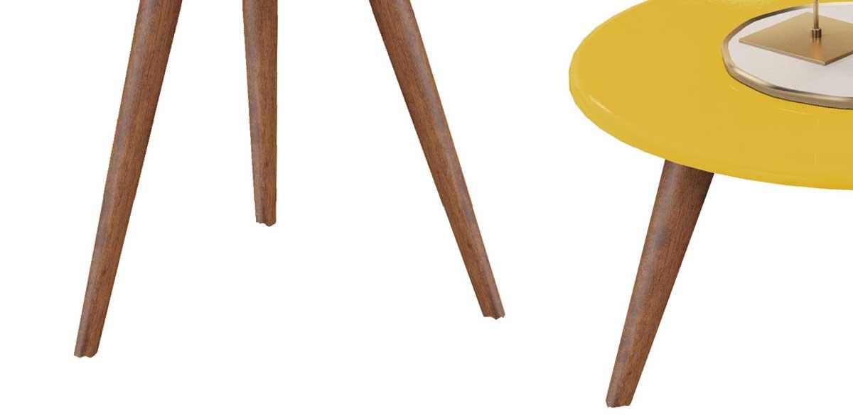 Conjunto de Mesas Natalia Amarelo com Madero - MóveisAqui