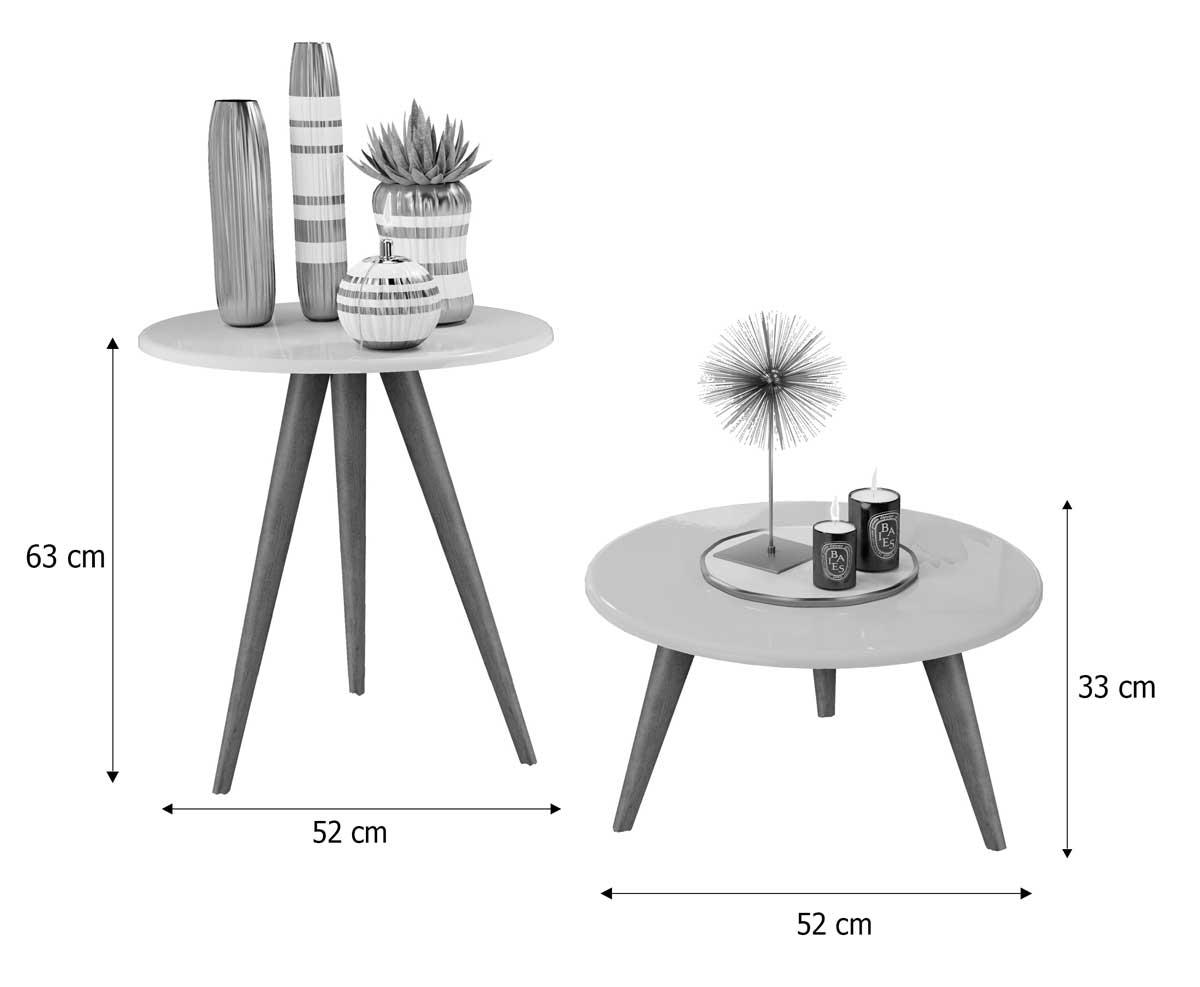 Conjunto de Mesas Natalia Branco com Madero - MóveisAqui