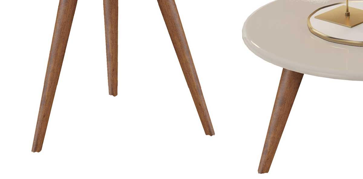 Conjunto de Mesas Natalia Off White com Madero - MóveisAqui