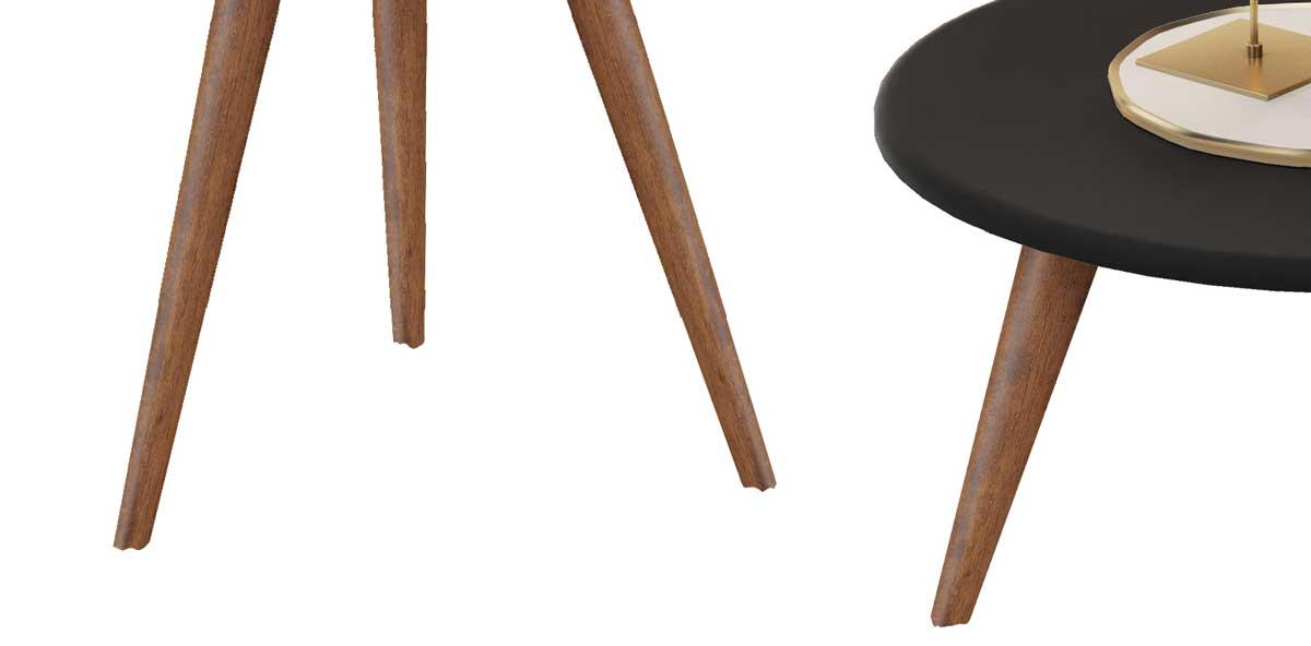 Conjunto de Mesas Natalia Preto com Madero - MóveisAqui
