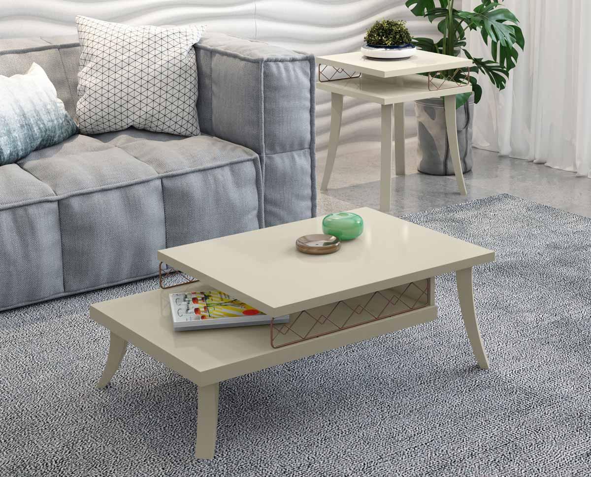 Conjunto Mesa de Centro Mesa Lateral Dior Off White - Patrimar Móveis