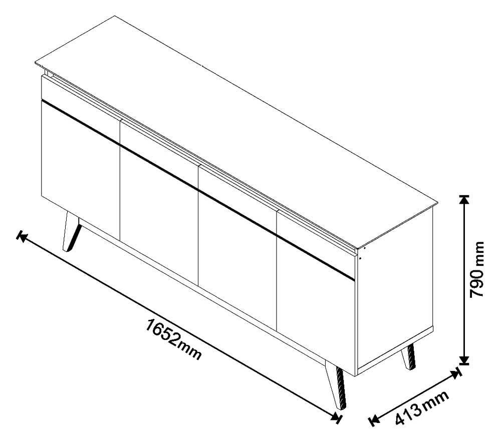 Conjunto Rack 2g 1.8 + Buffet Classic 4 Portas Off White com Freijó - Imcal Móveis