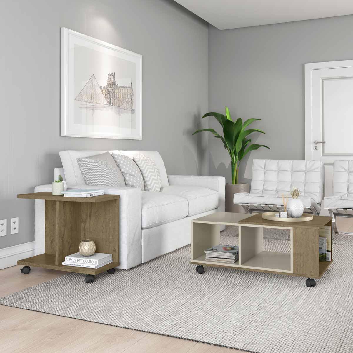 Conjunto Sala de Estar Cancun Mesa de Centro Mesa Lateral Demolição com Off White - Patrimar Móveis