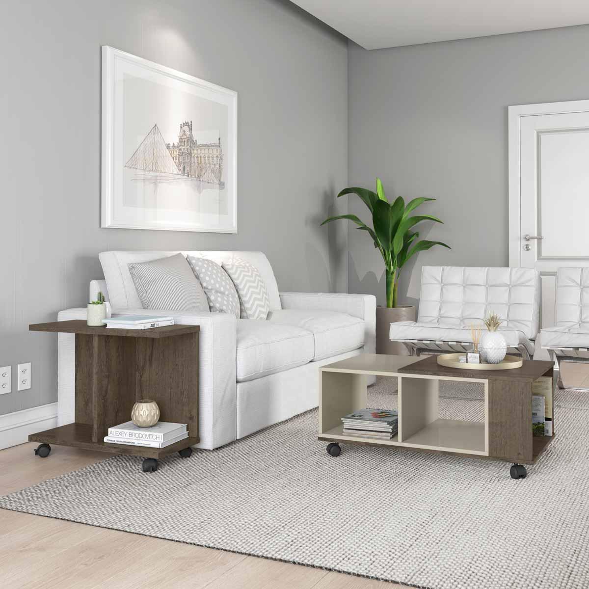 Conjunto Sala de Estar Cancun Mesa de Centro Mesa Lateral Imbuia com Off White - Patrimar Móveis