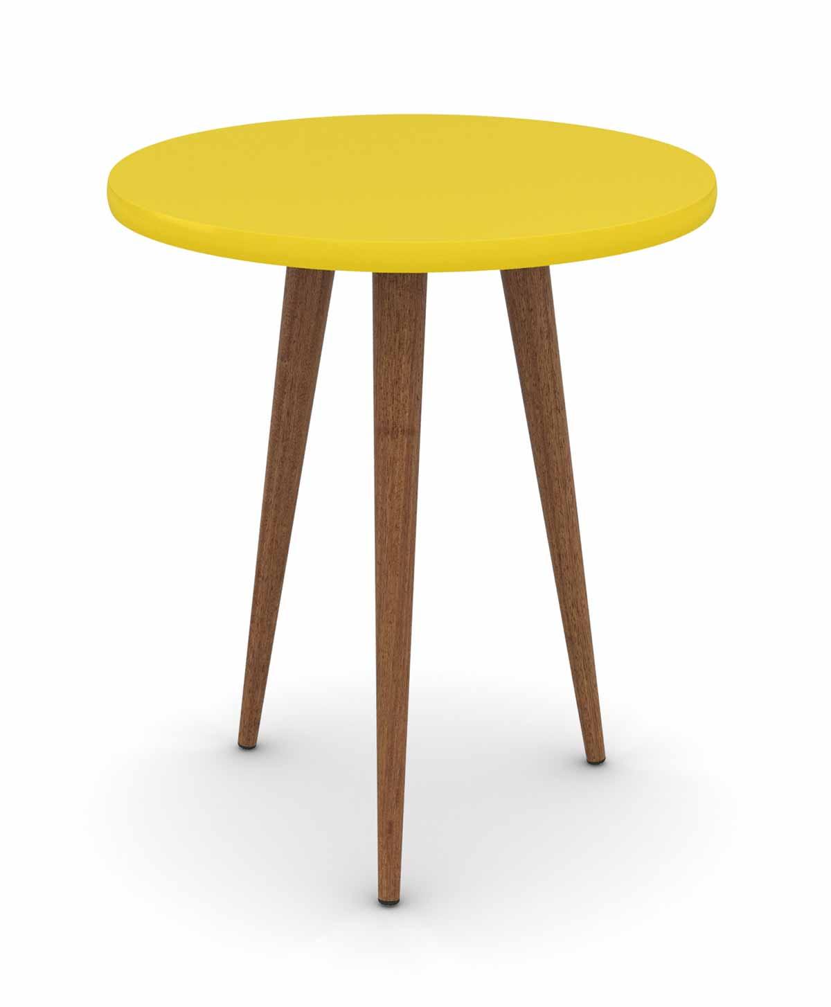 Conjunto Sala de Estar Legs Mesa de Centro Mesa Lateral Mesa de Apoio Amarelo - Patrimar Móveis