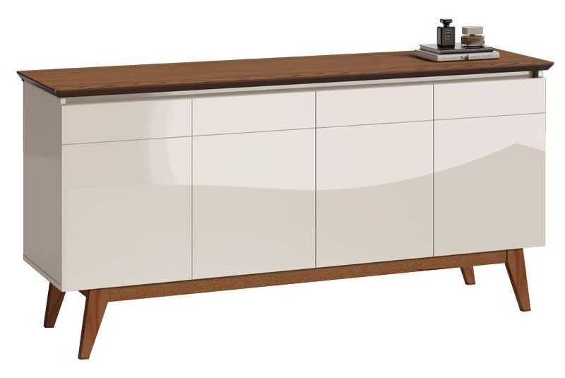 Conjunto Sala de Estar Rack com Painel 1.8 + Buffet + Aparador + Cristaleira - Imcal Móveis