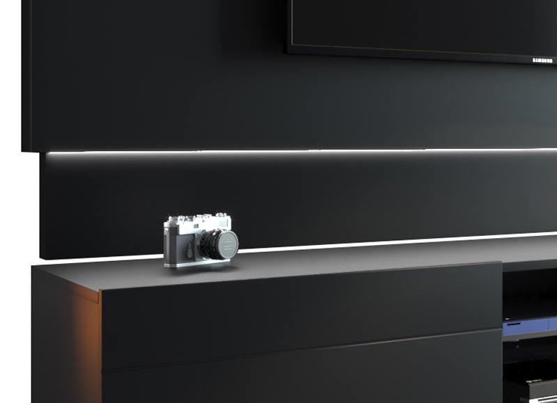 Conjunto Sala de Estar Rack com Painel 1.8 com Led + Buffet Preto - Imcal Móveis