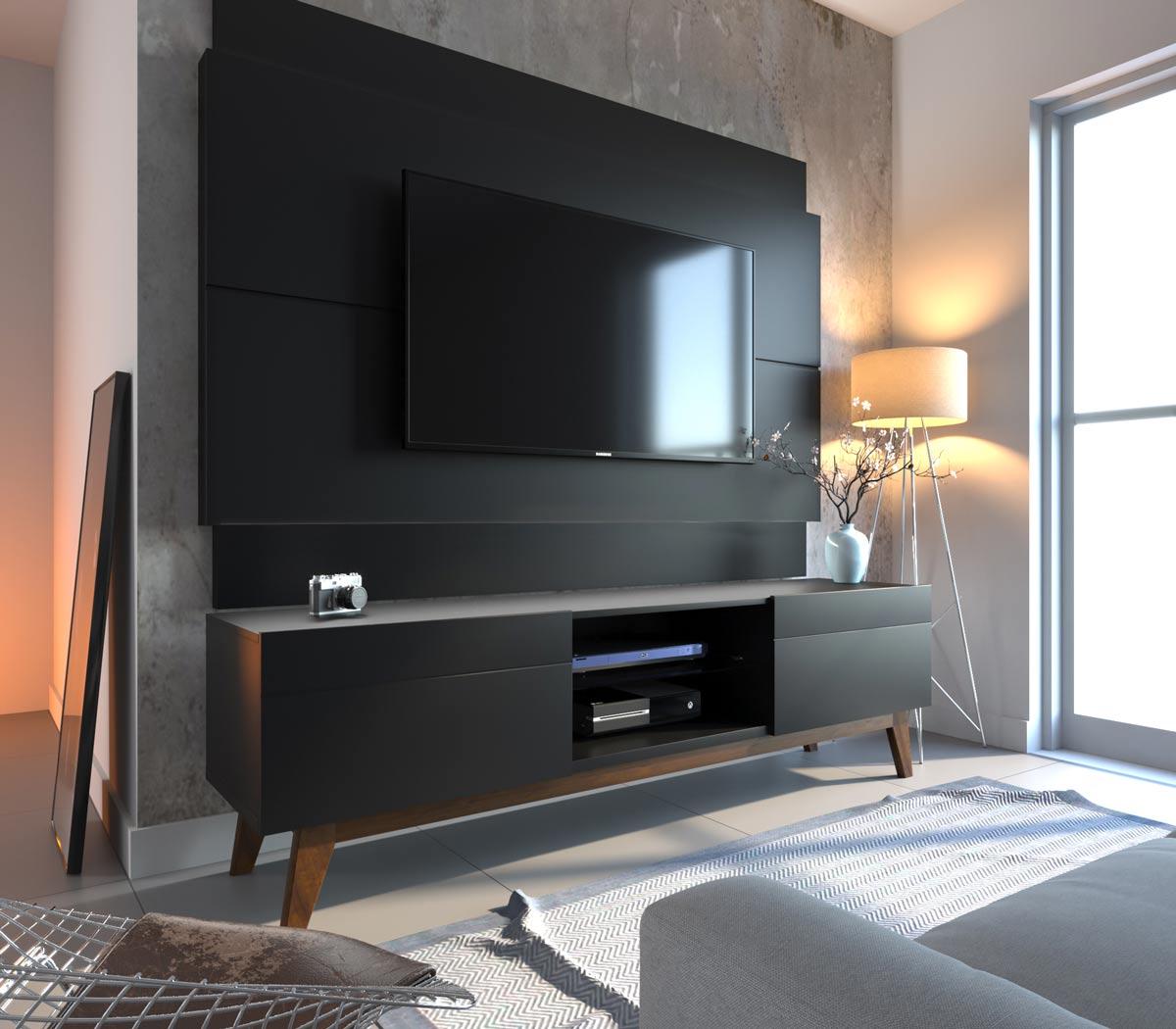 Conjunto Sala de Estar Rack com Painel 1.8 Sem Led + Buffet Preto - Imcal Móveis