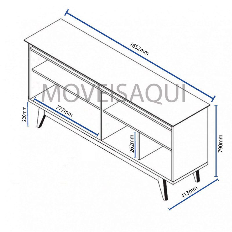 Conjunto Sala de Estar Rack com Painel 2.2 + Buffet + Aparador + Mesa de Centro + Mesa Lateral - Imcal Móveis