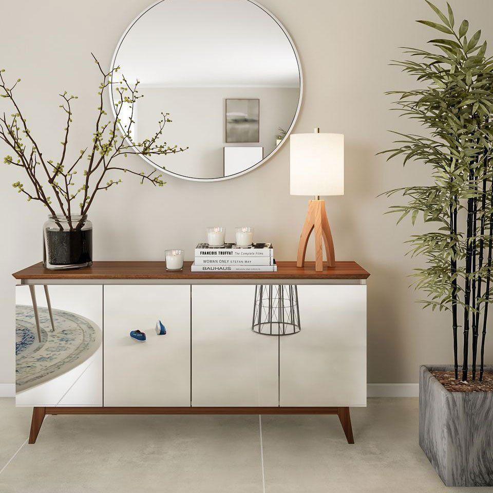 Conjunto Sala de Estar Rack com Painel 2.2 + Buffet Espelhado + Aparador - Imcal Móveis