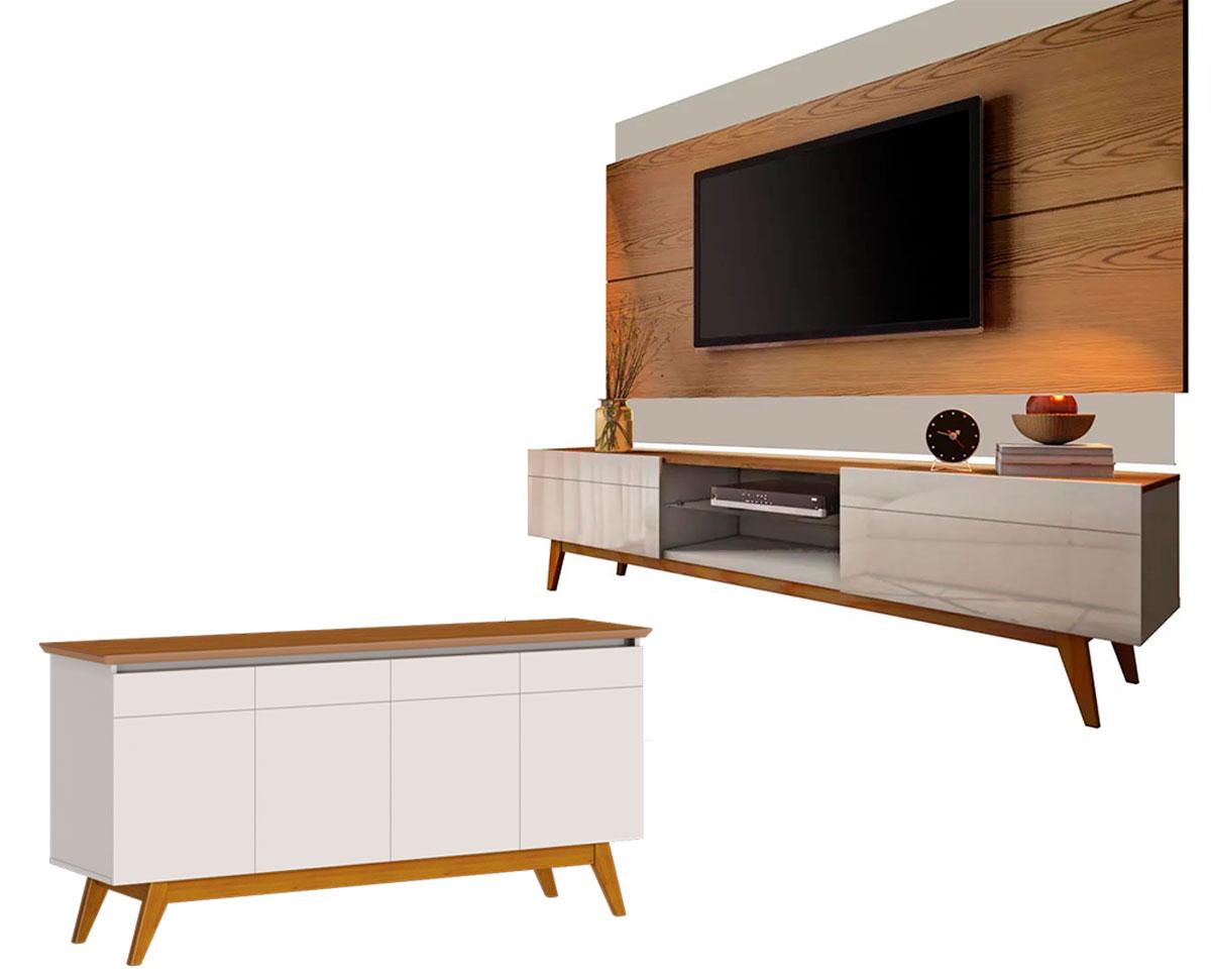 Conjunto Sala de Estar Rack com Painel 2.2 + Buffet - Imcal Móveis