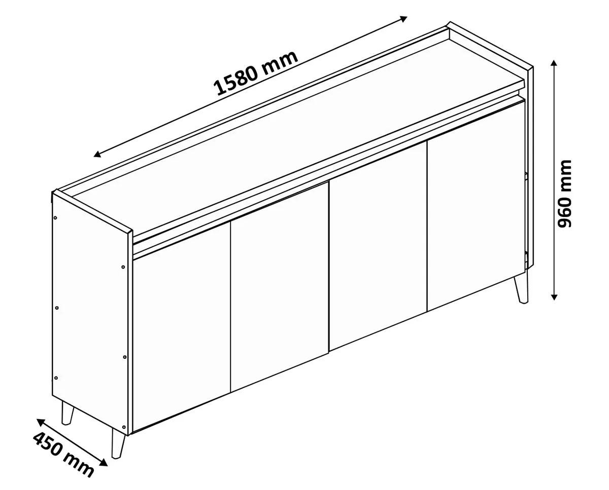 Conjunto Sala de Estar Rack com Painel 2.2 com Led + Buffet 4 Portas - MoveisAqui