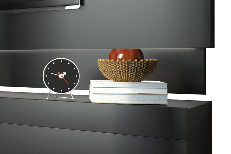 Conjunto Sala de Estar Rack com Painel 2.2 com Led + Buffet Preto - Imcal Móveis