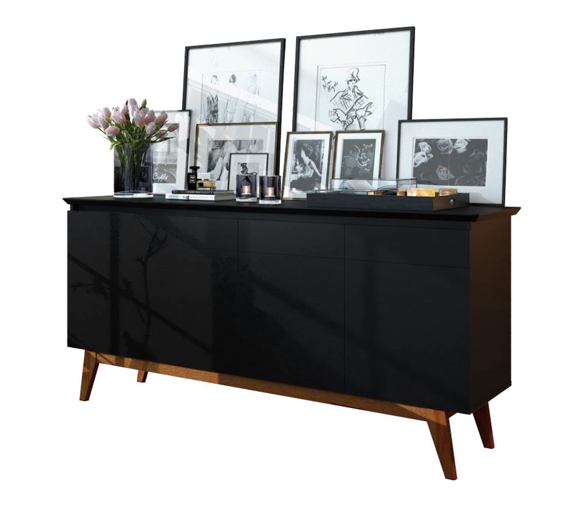 Conjunto Sala de Estar Rack com Painel 2.2 Sem Led + Buffet Preto - Imcal Móveis