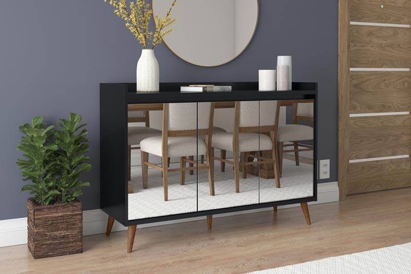 Conjunto Sala de Estar Rack + Painel + Buffet Espelhado + Mesa Lateral e Centro