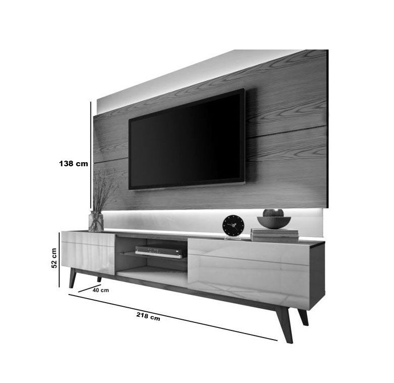 Conjunto Sala de Estar Rack com Painel 2.2 sem LED + Buffet - Imcal Móveis