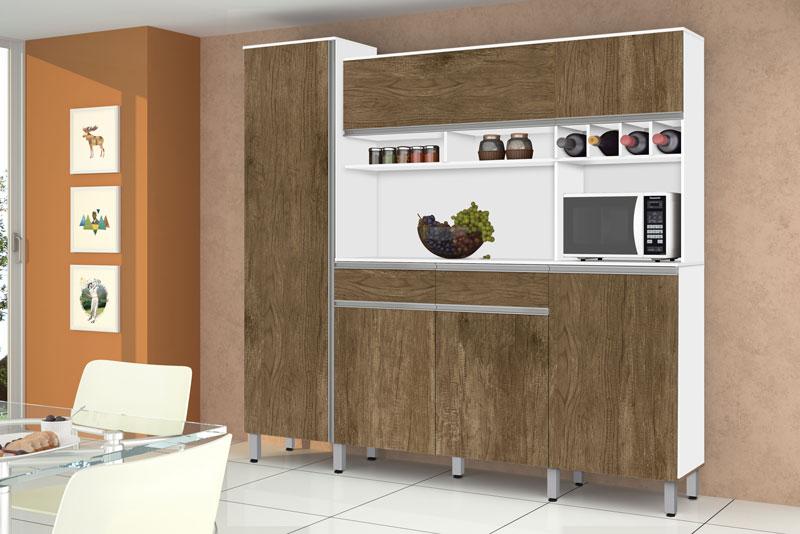 Armario de Cozinha Completo Brasil 2.3 Branco com Ferrara - CSA Moveis