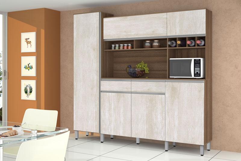 Armário de Cozinha Completo Brasil 2.3 Noce com Ravena - CSA Móveis
