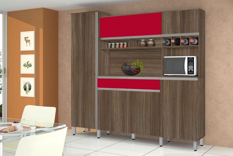 Armário de Cozinha Completo Brasil 2.3 Noce com Vermelho - CSA Móveis
