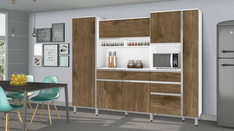 Armário de Cozinha Croácia 2.6 Branco com Ferrara - CSA Móveis