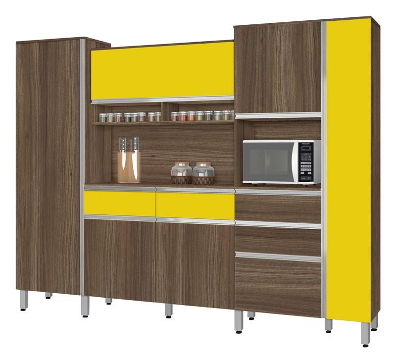 Armário de Cozinha Croácia 2.6 Noce com Amarelo - CSA Móveis